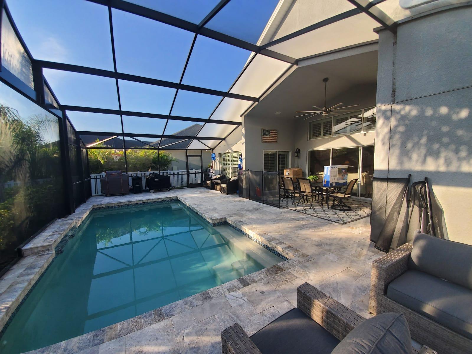 Travertine New Pool Enclosure